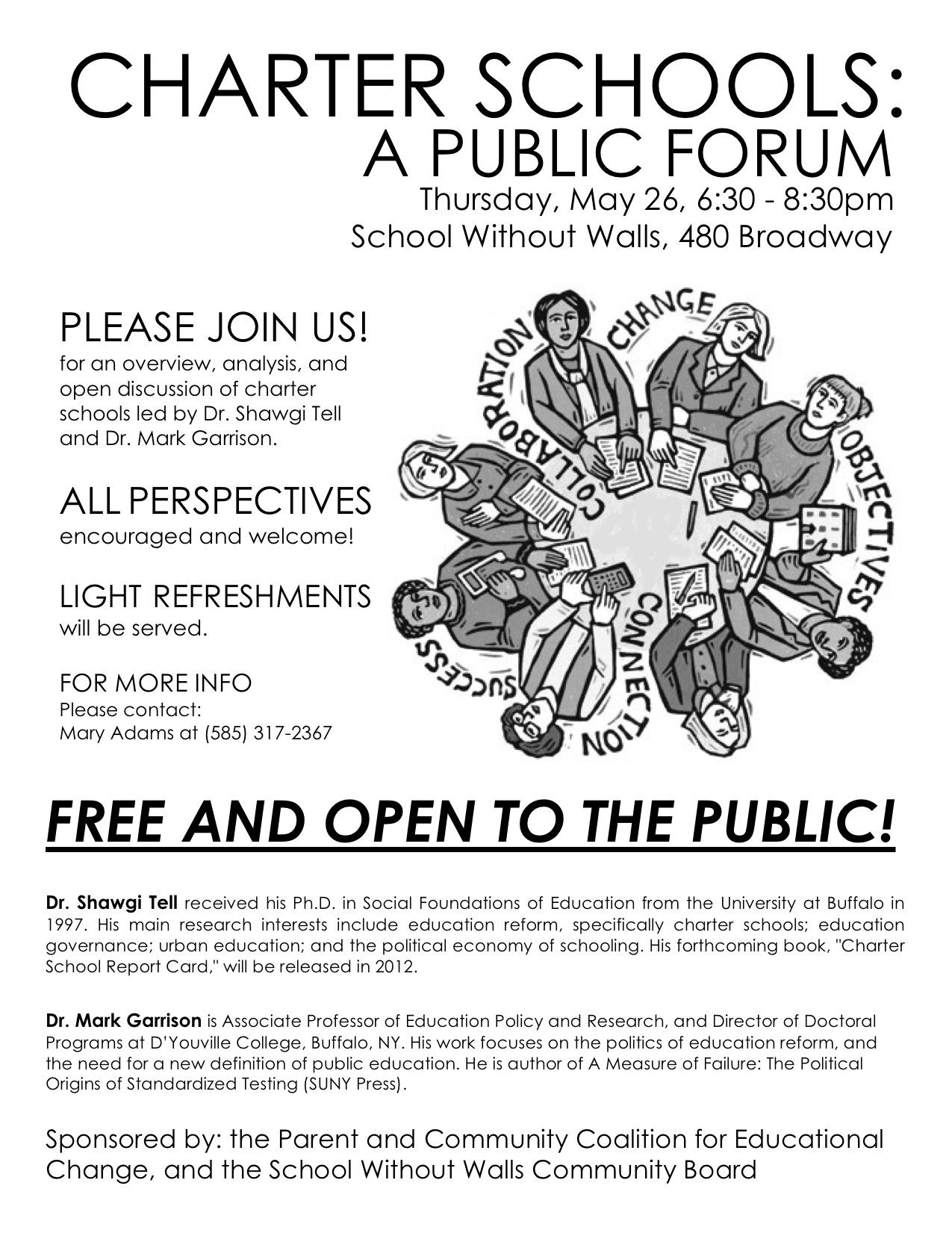 charter schools: a public hearing and a public forum | failing schools
